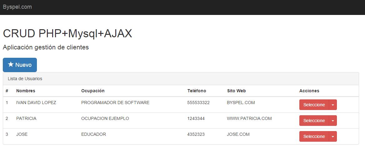 Aplicación CRUD PHP MYSQL AJAX