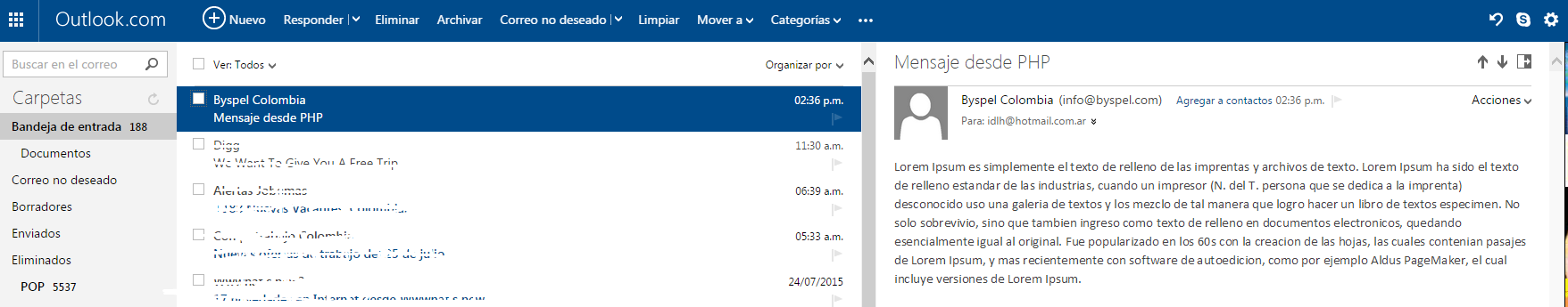 email desde php